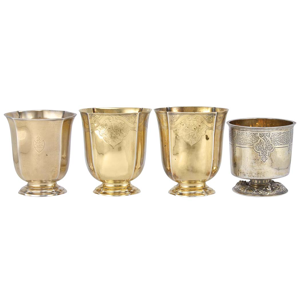 Lot image - Group of Four Franco-German Silver Gilt Beakers