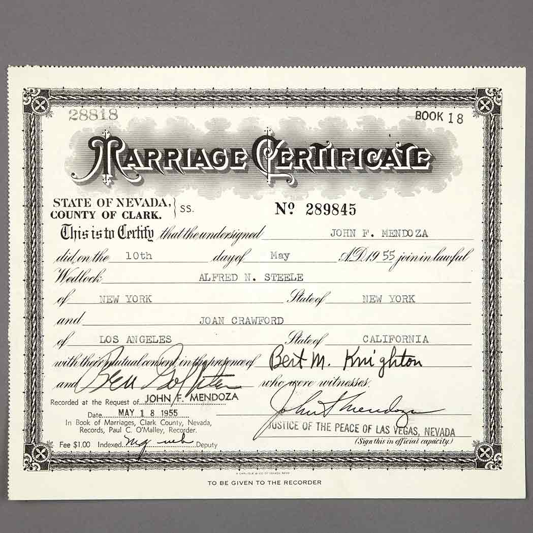 Crawford joan marriage certificate for crawfords marriage to doyle lot 11fd09 1140 1betcityfo Gallery