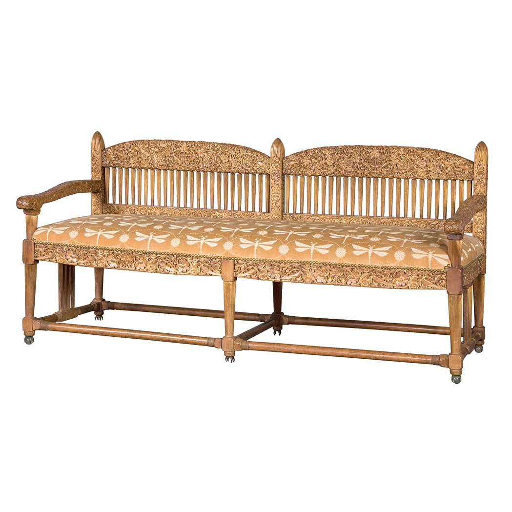 Lot image - Louis Comfort Tiffany and Samuel Colman Aesthetic Movement Carved and Parcel Gilt Ash Settee
