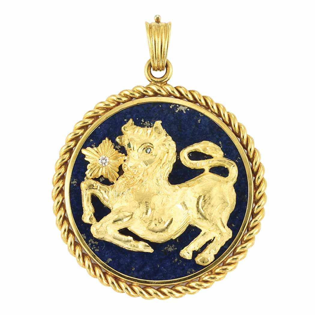 Lot image - Gold and Lapis Pendant, Van Cleef & Arpels