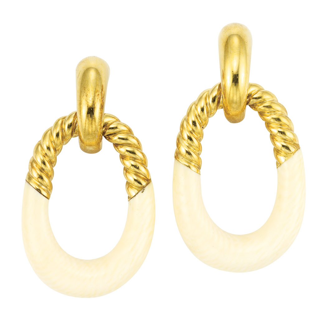 Lot image - Pair of Gold and Ivory Door Knocker Earclips