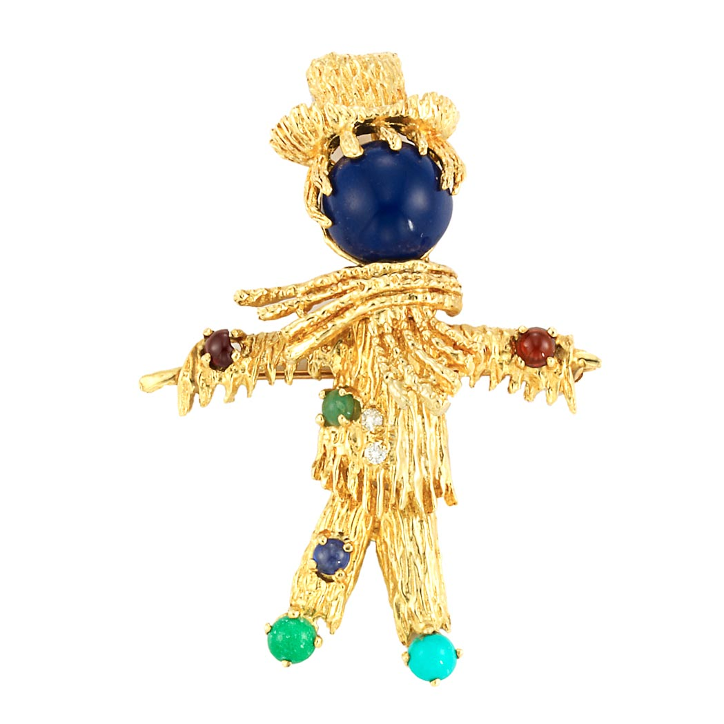 Lot image - Gold, Lapis, Turquoise, Gem-Set and Diamond Scarecrow Pin