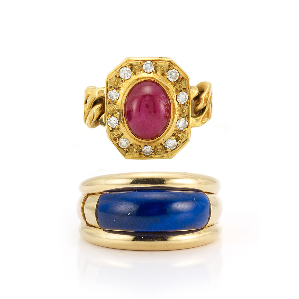 Lot image - Gold and Lapis Insert Ring, Van Cleef & Arpels, and Gold, Cabochon Ruby and Diamond Chain Ring