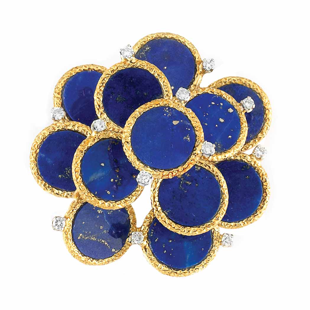 Lot image - Gold, Lapis and Diamond Clip-Brooch