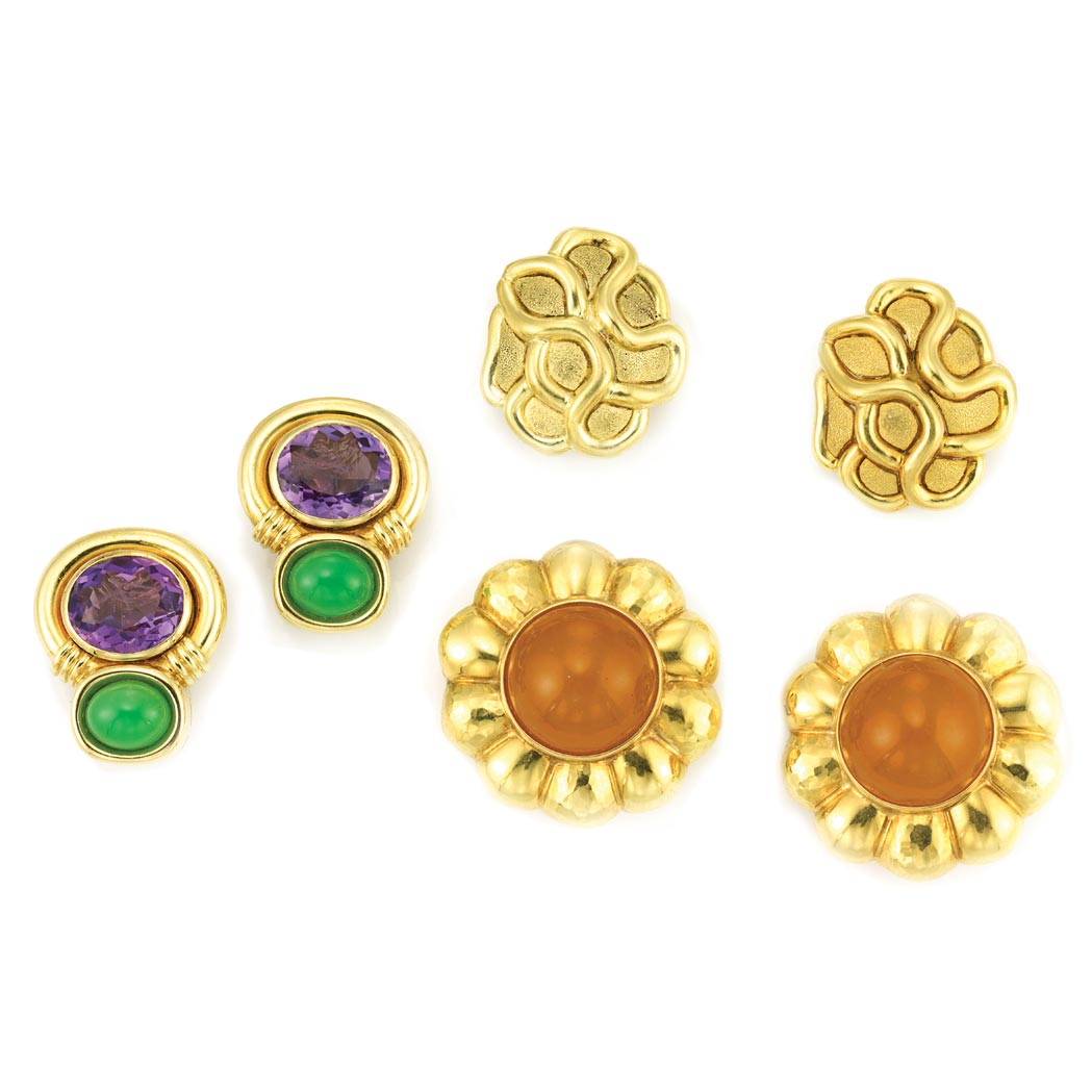 Lot image - Three Pairs of Gold and Gem-Set Earclips, Tambetti