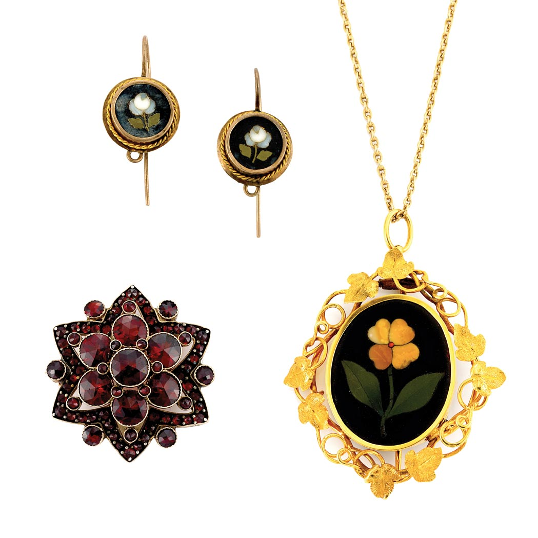 Lot image - Pietra Dura Pendant-Brooch, Pair of Antique Pietra Dura Earrings and Antique Garnet Pin