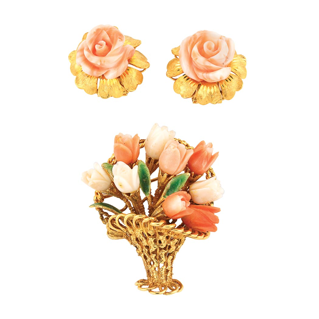 Lot image - Pair of Gold and Carved Angel Skin Coral Flower Earclips and Bouquet Brooch