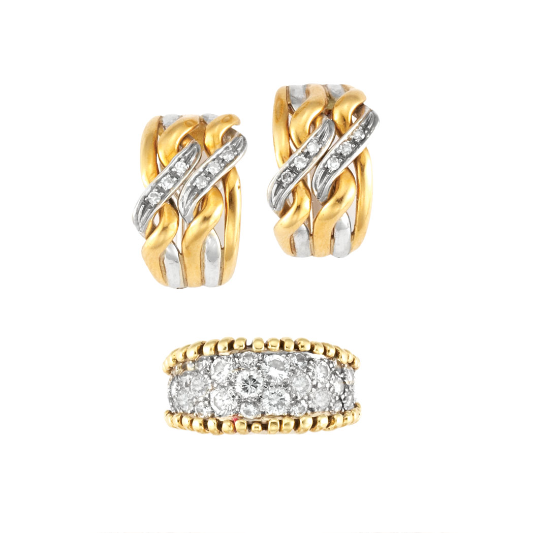 Lot image - Two-Color Gold and Diamond Band Ring and Pair of Half-Hoop Earrings