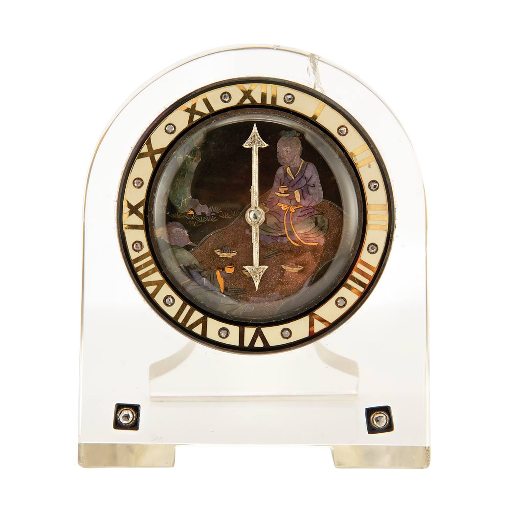 Lot image - Art Deco Japanesque Rock Crystal, Mother-of-Pearl, Abalone Pearl, Enamel and Diamond Desk Clock, Cartier