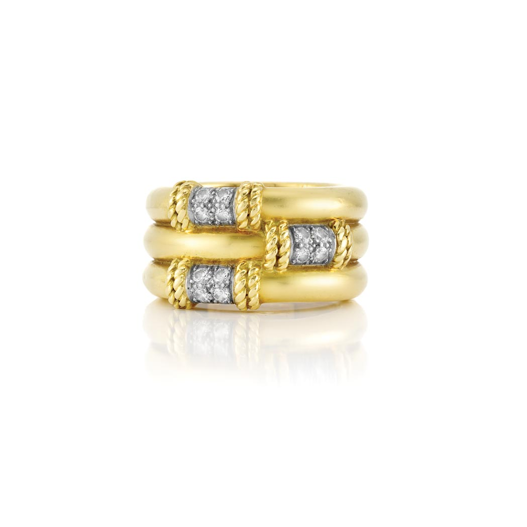 Lot image - Wide Gold and Diamond Band Ring