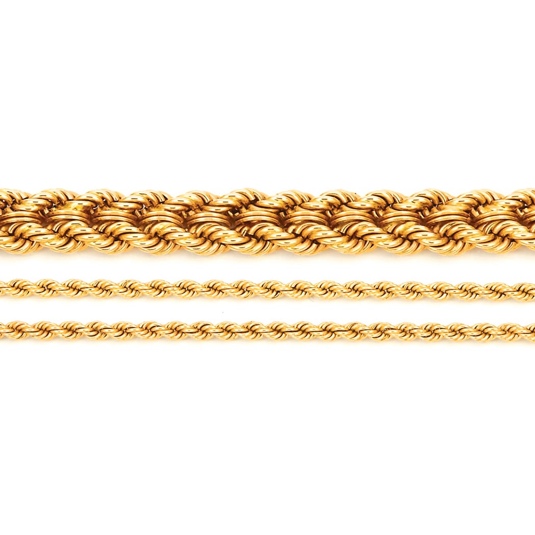 Lot image - Gold Bracelet, Tiffany & Co., and Two Gold Rope-Twist Chain Necklaces