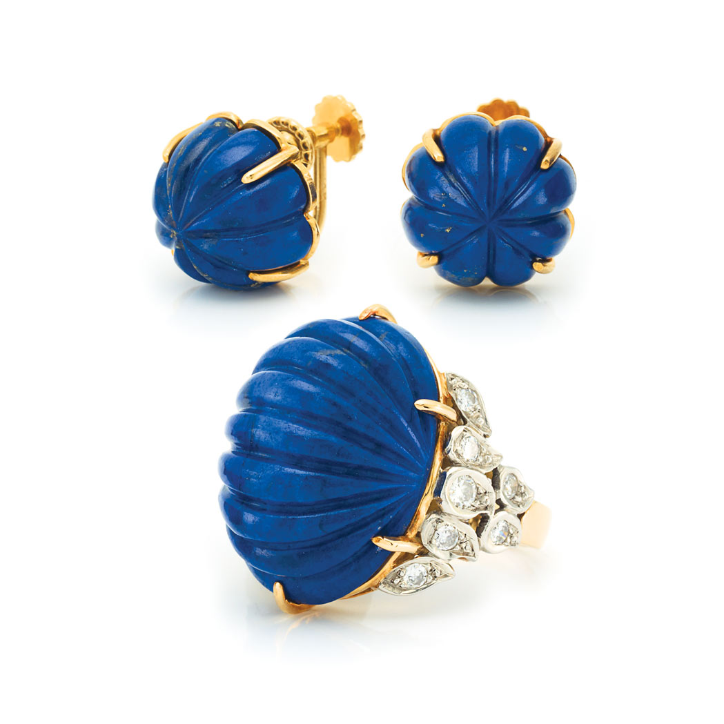 Lot image - Gold, Fluted Lapis and Diamond Ring and Pair of Earclips