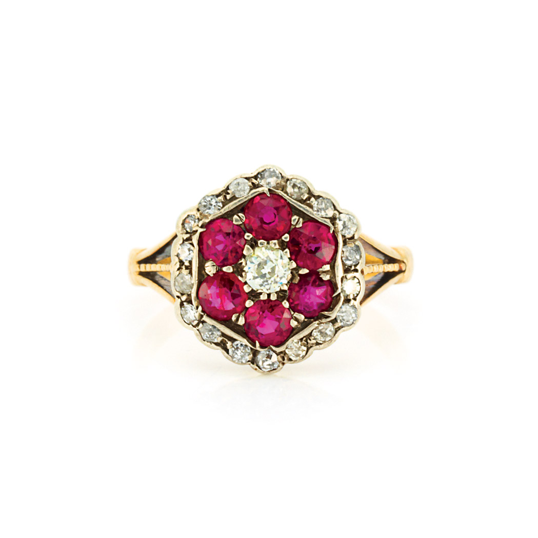 Lot image - Antique Silver, Gold, Diamond and Ruby Ring