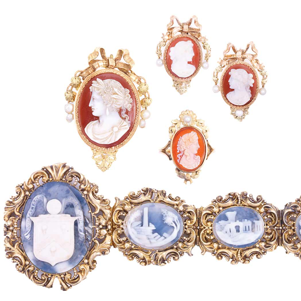 Lot image - Antique Gold and Shell Cameo Bracelet and Group of Gold, Hardstone Cameo and Pearl Jewelry