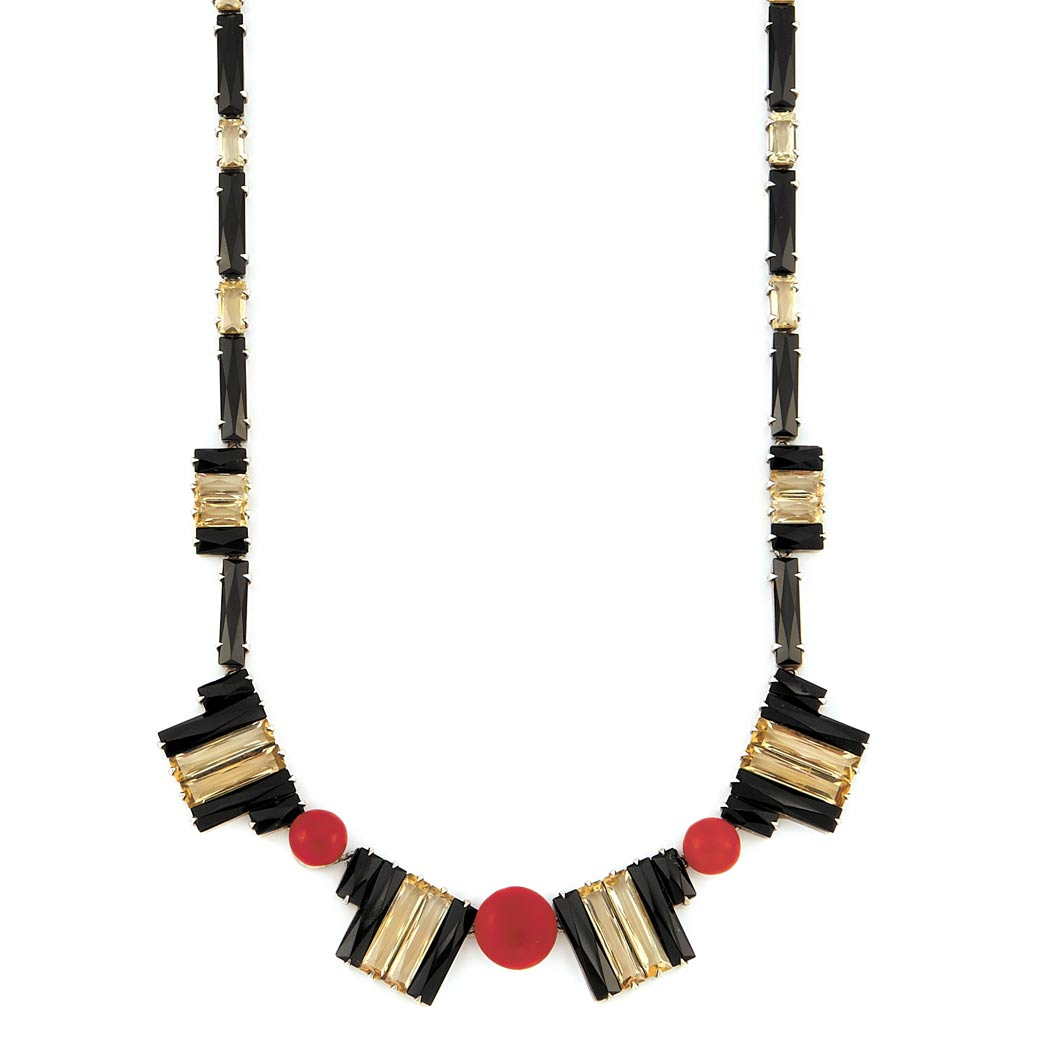 Lot image - Art Deco Sterling Silver, Black Onyx, Citrine and Oxblood Coral Necklace