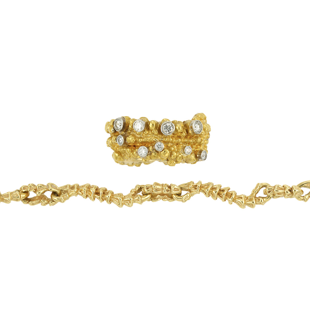 Lot image - Nugget Gold, Platinum and Diamond Band Ring and Gold Necklace, Gilbert Albert