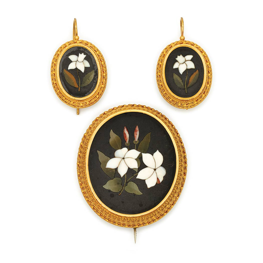 Lot image - Antique Gold and Pietra Dura Brooch and Pair of Earrings