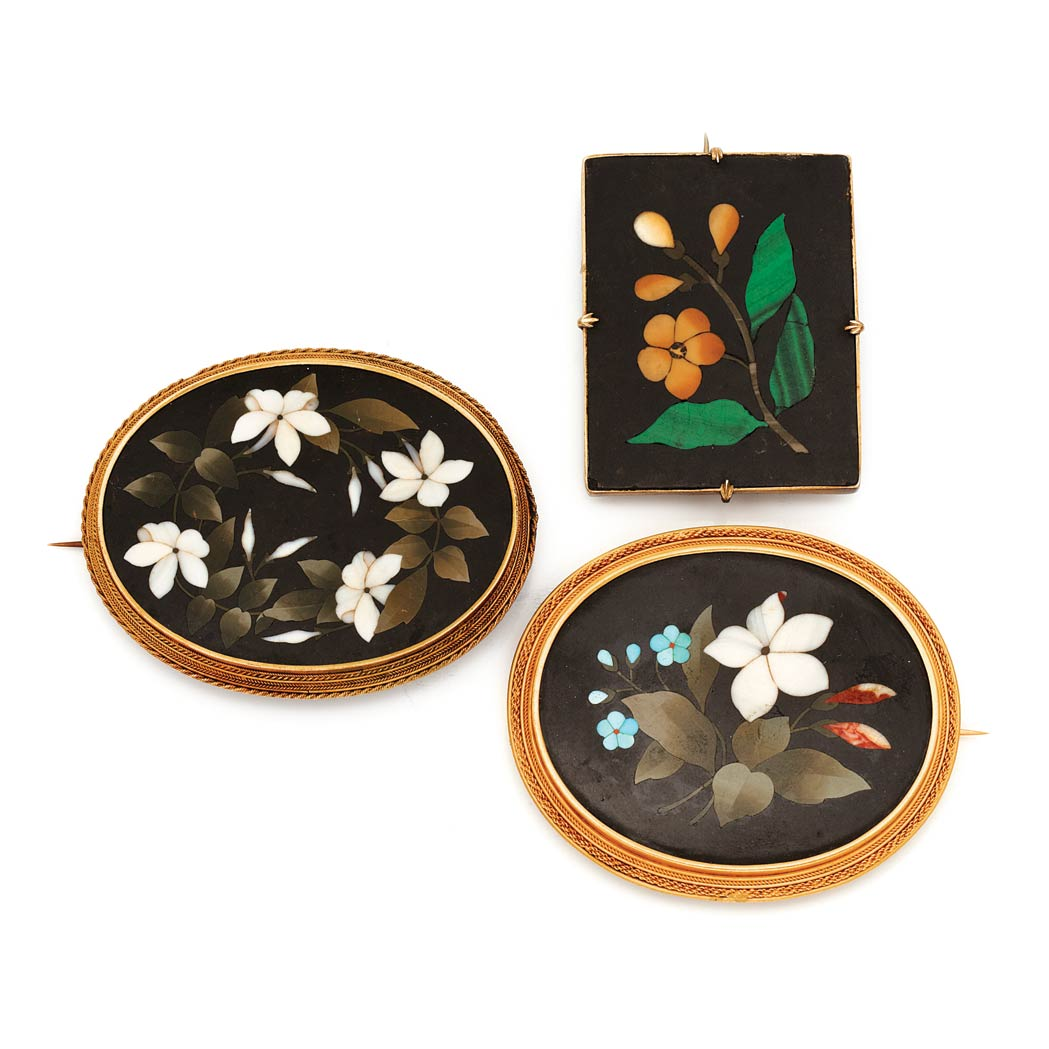 Lot image - Three Antique Gold and Pietra Dura Brooches