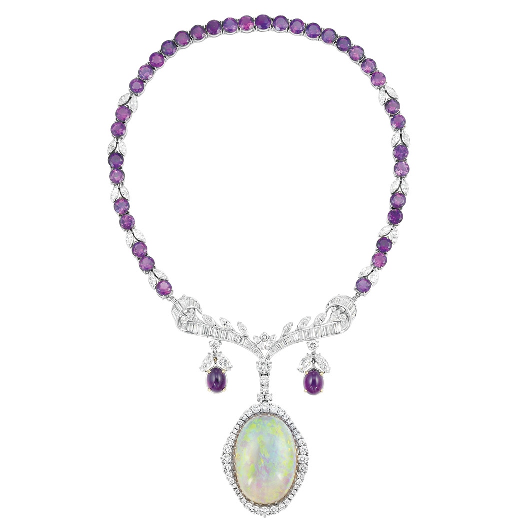 Lot image - White Gold, Amethyst, Diamond and Opal Pendant-Necklace