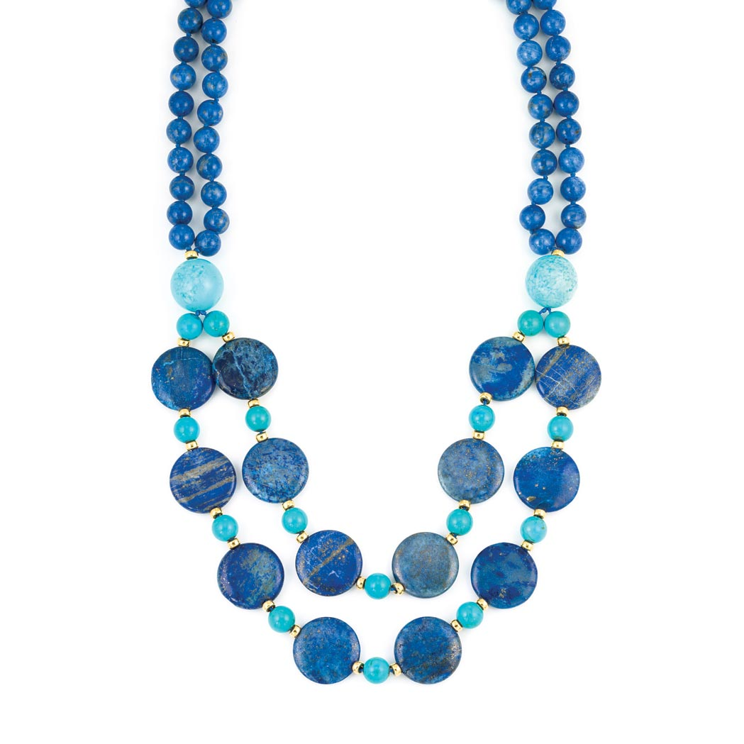 Lot image - Double Strand Lapis,Turquoise and Gold Bead Necklace