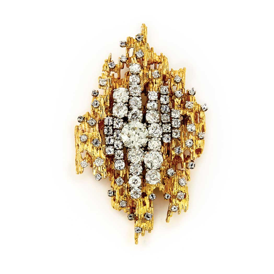 Lot image - Gold, Platinum and Diamond Pendant-Brooch
