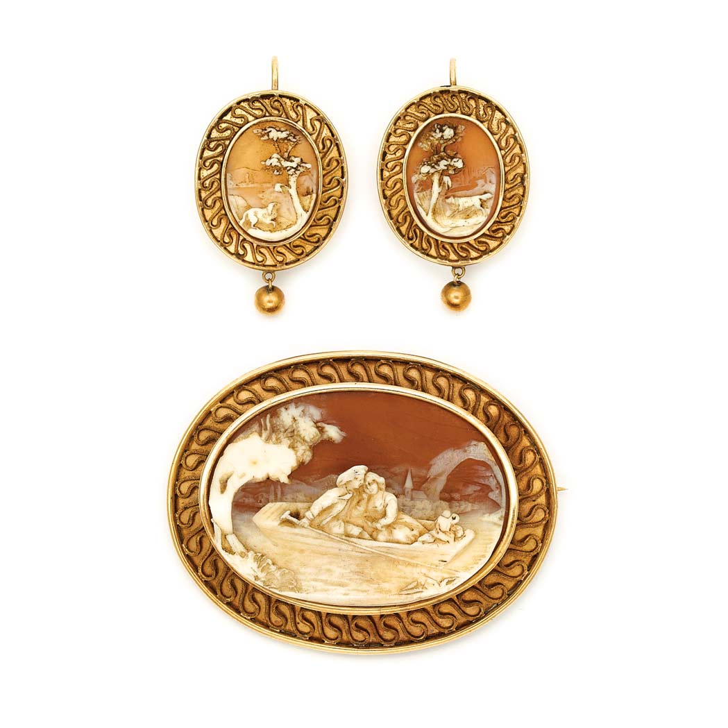 Lot image - Antique Gold and Shell Cameo Pendant-Brooch and Pair of Earrings