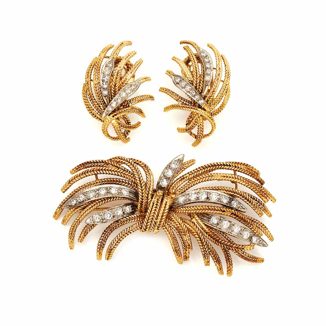 Lot image - Two-Color Gold and Diamond Spray Brooch and Pair of Earrings