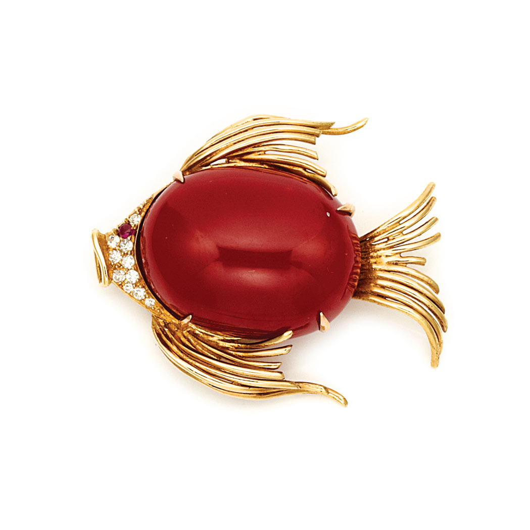 Lot image - Gold, Oxblood Coral, Diamond and Cabochon Ruby Fish Brooch