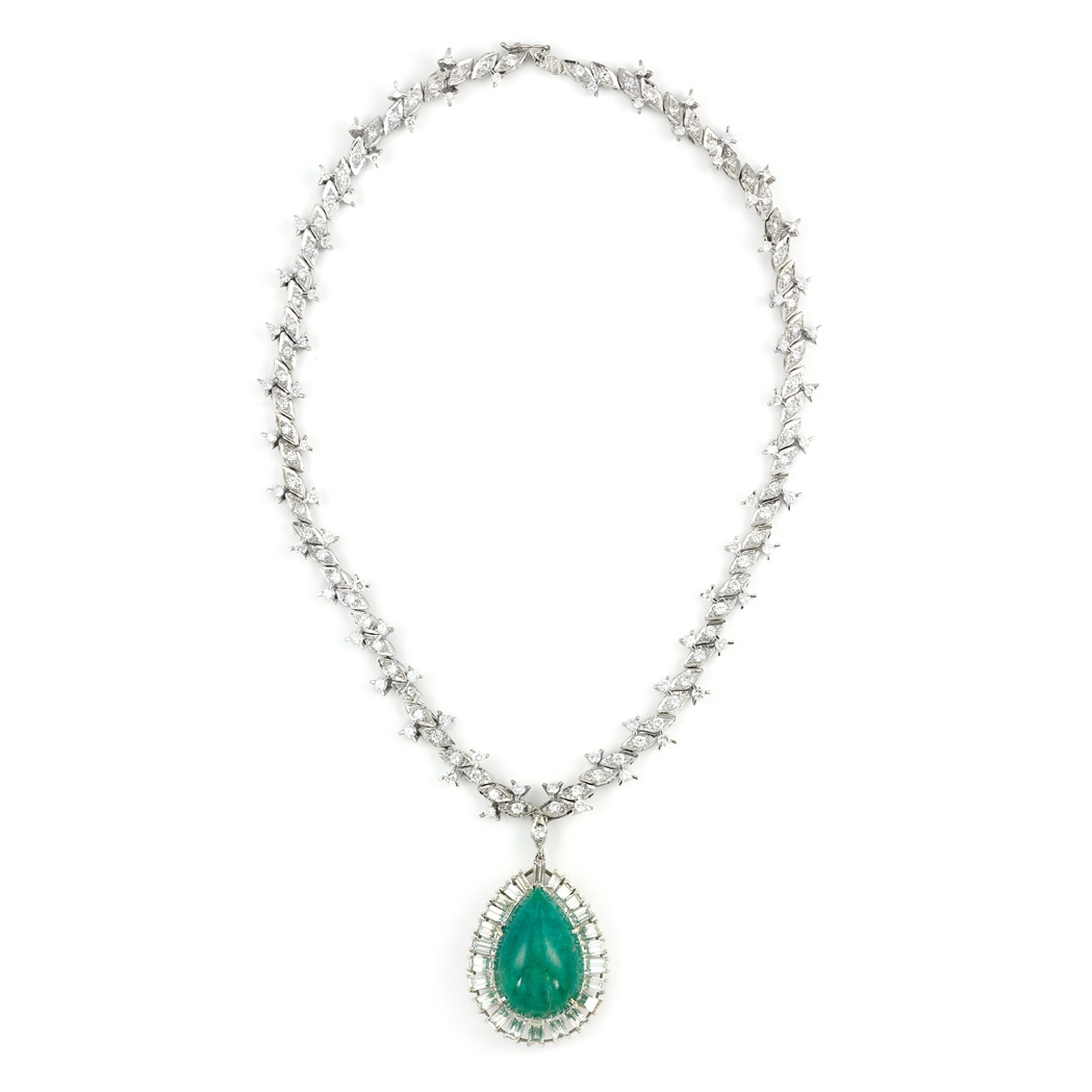 Lot image - White Gold and Diamond Necklace with Platinum, Cabochon Emerald and Diamond Pendant