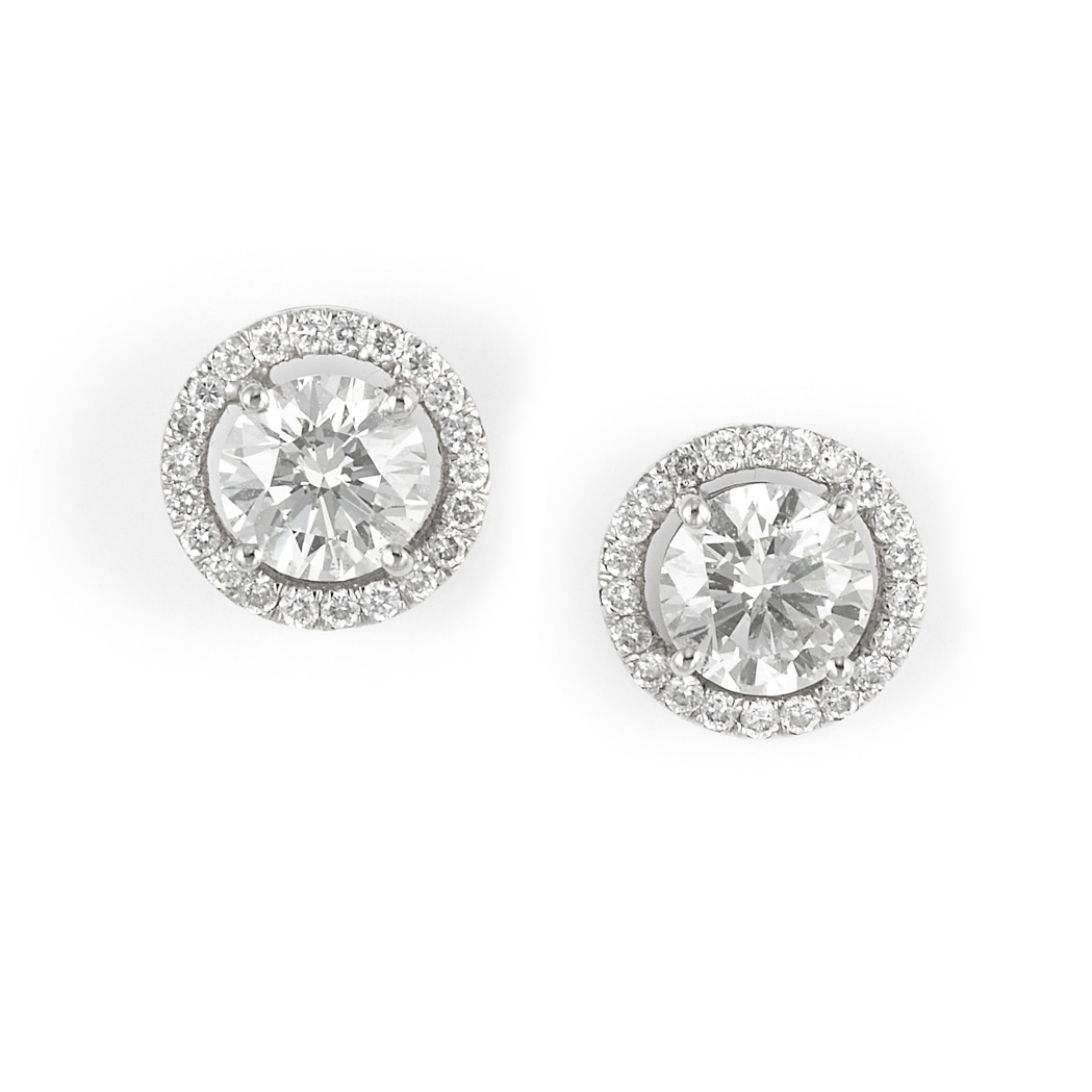 Lot image - Pair of White Gold and Diamond Earrings