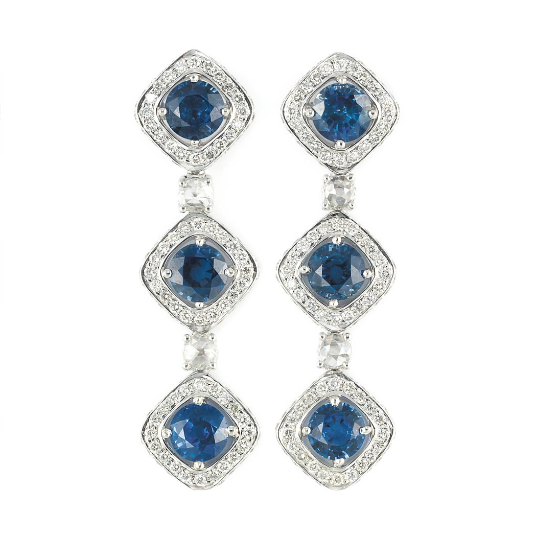 Lot image - Pair of White Gold, Sapphire and Diamond Pendant-Earrings