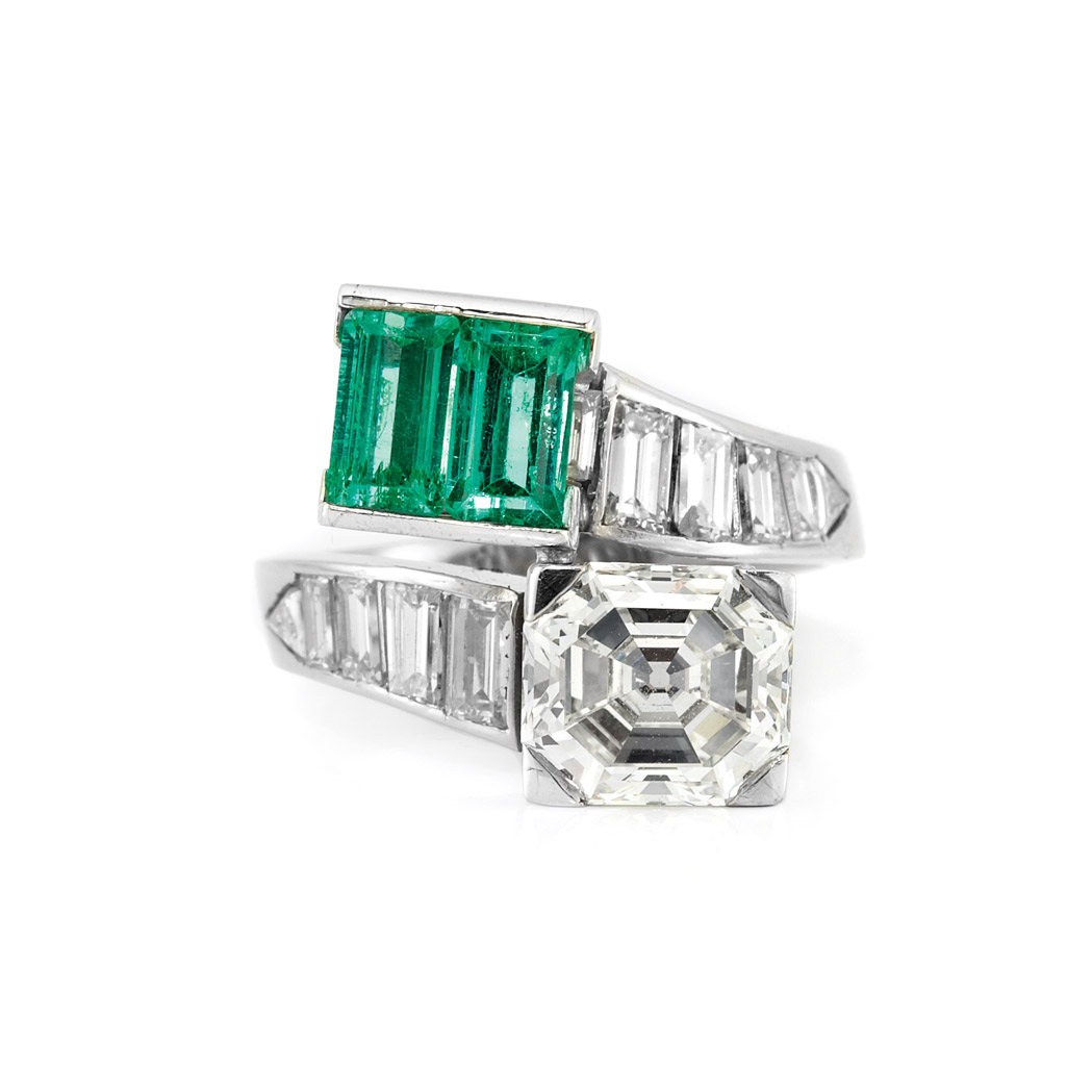 Lot image - Platinum, Diamond and Emerald Crossover Ring