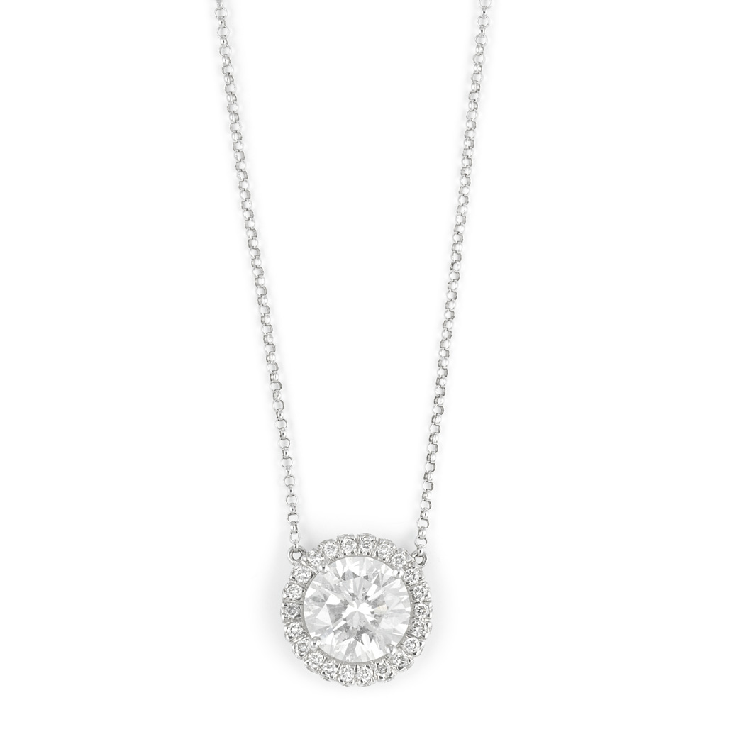 Lot image - White Gold and Diamond Pendant with Chain