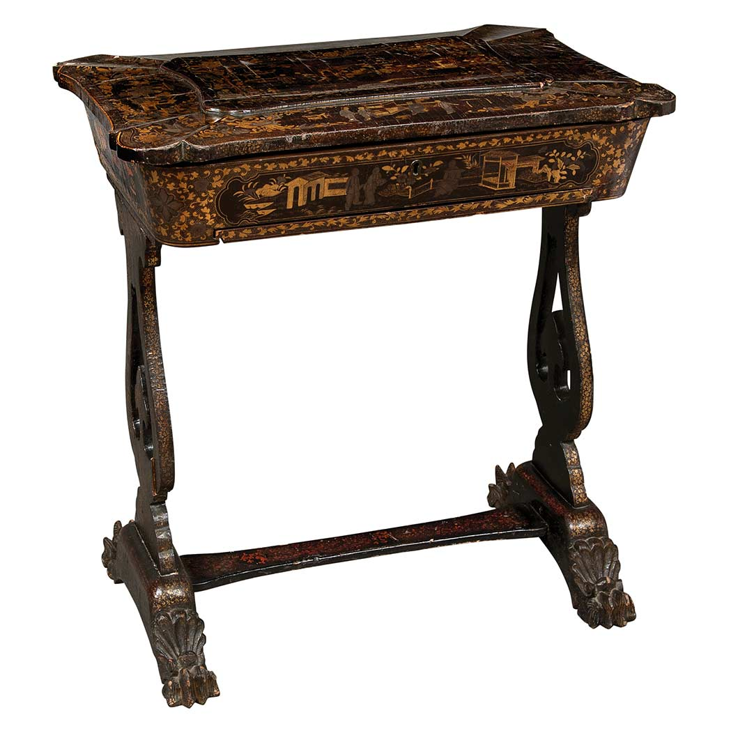 Lot image - Chinese Export Gilt Decorated and Black Lacquered Sewing Table