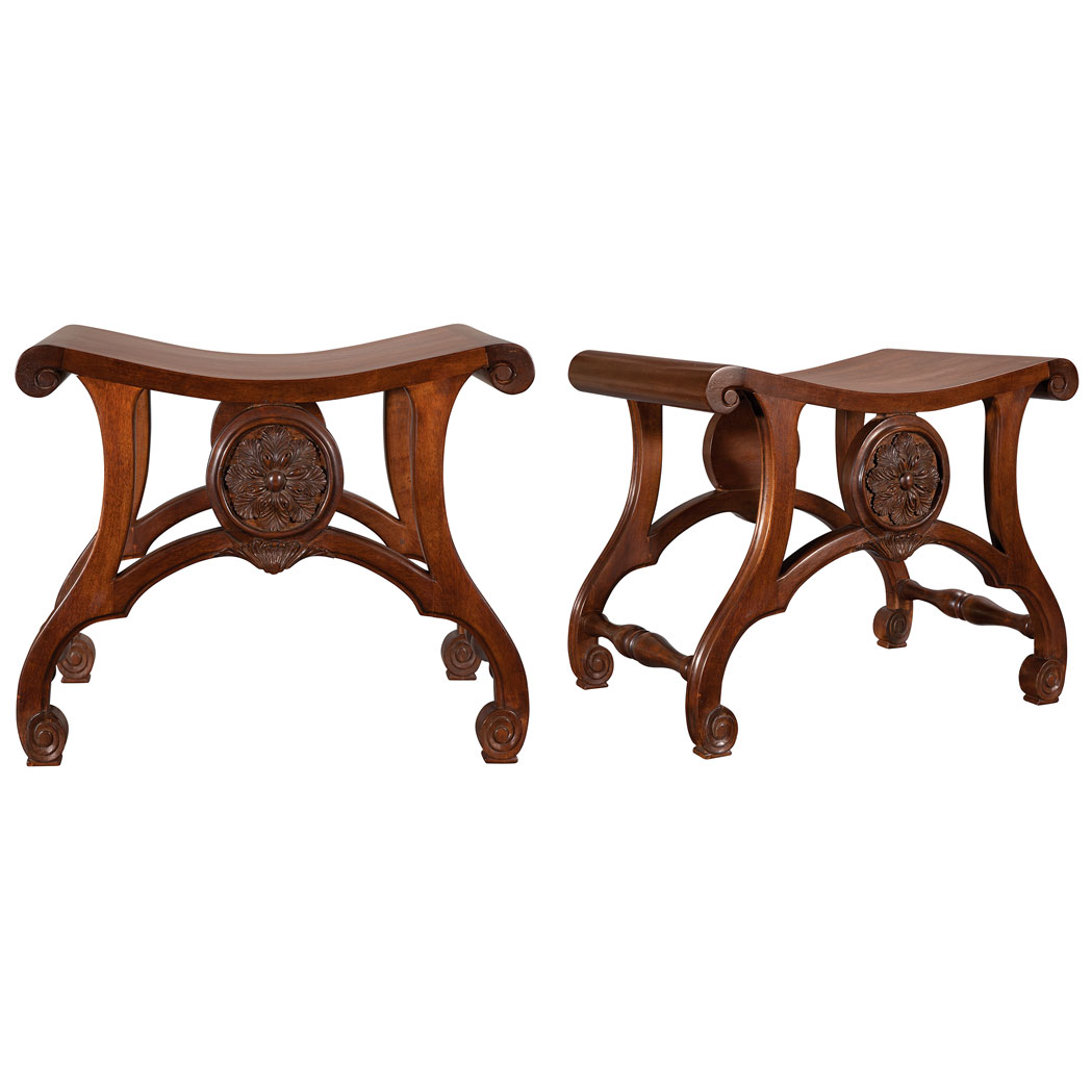 Lot image - Pair of George III Style Carved Mahogany Hall Stools