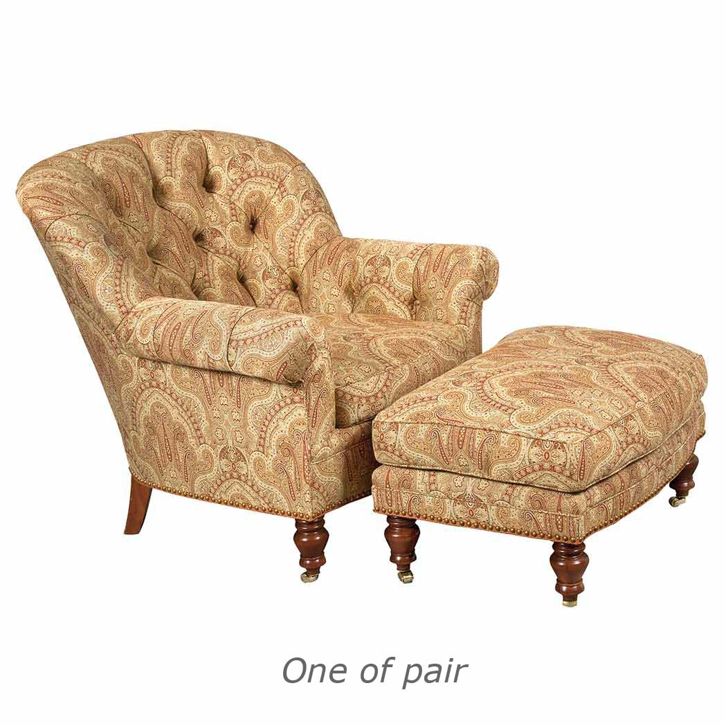 Lot image - Pair of Mahogany Tufted Upholstered Armchairs and Ottomans en Suite