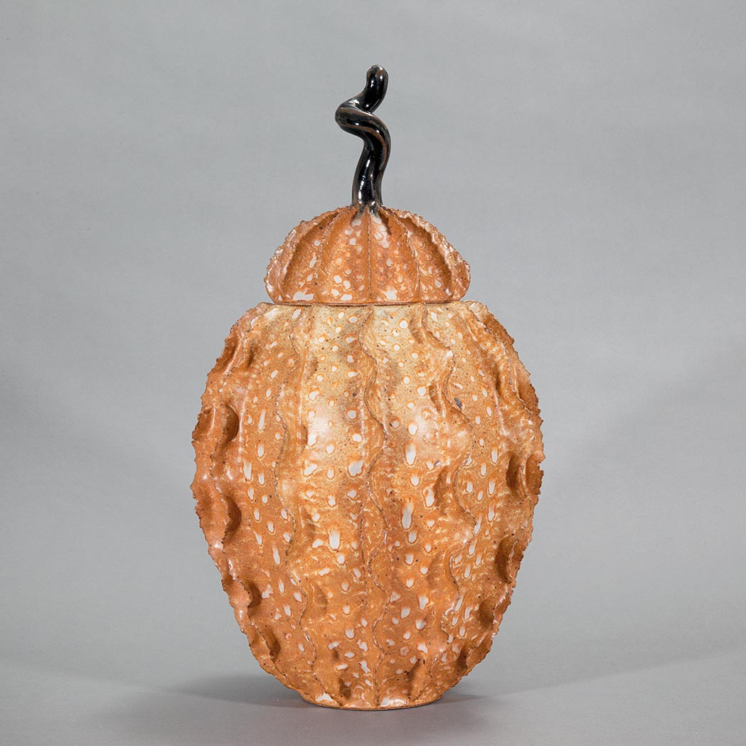 Lot image - Orange Glazed Ceramic Covered Gourd