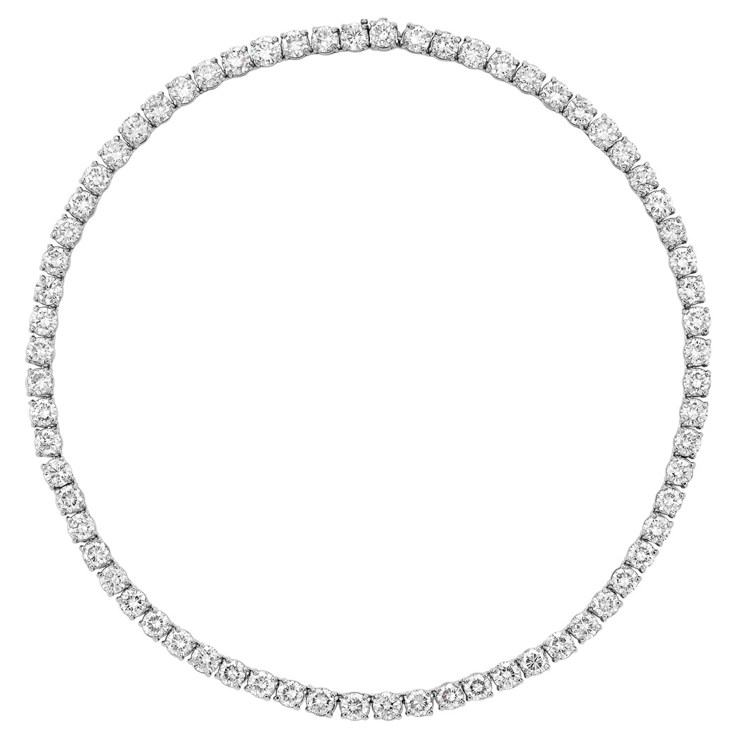 Lot image - Platinum and Diamond Necklace