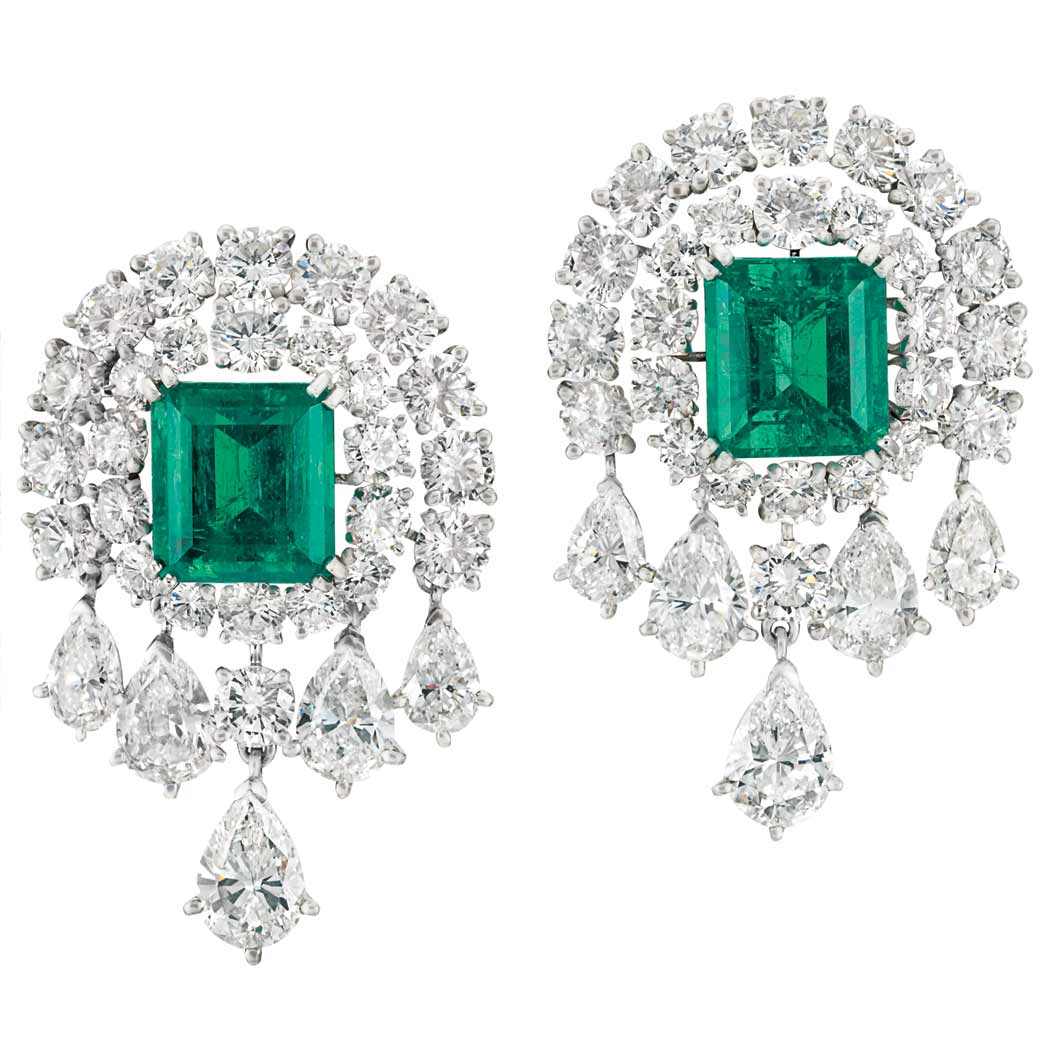Lot image - Pair of White Gold, Emerald and Diamond Earclips, Van Cleef & Arpels