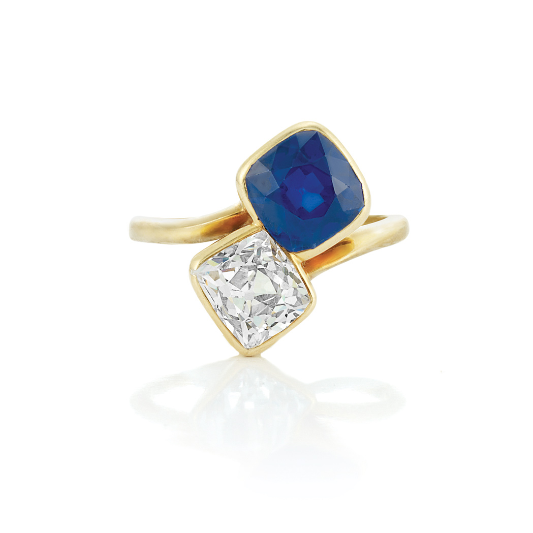 Lot image - Antique Gold, Sapphire and Diamond Crossover Ring
