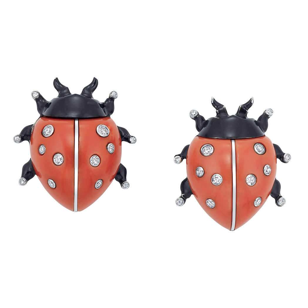 Lot image - Pair of White Gold, Platinum, Coral, Diamond and Black Enamel Ladybug Clips, Cartier