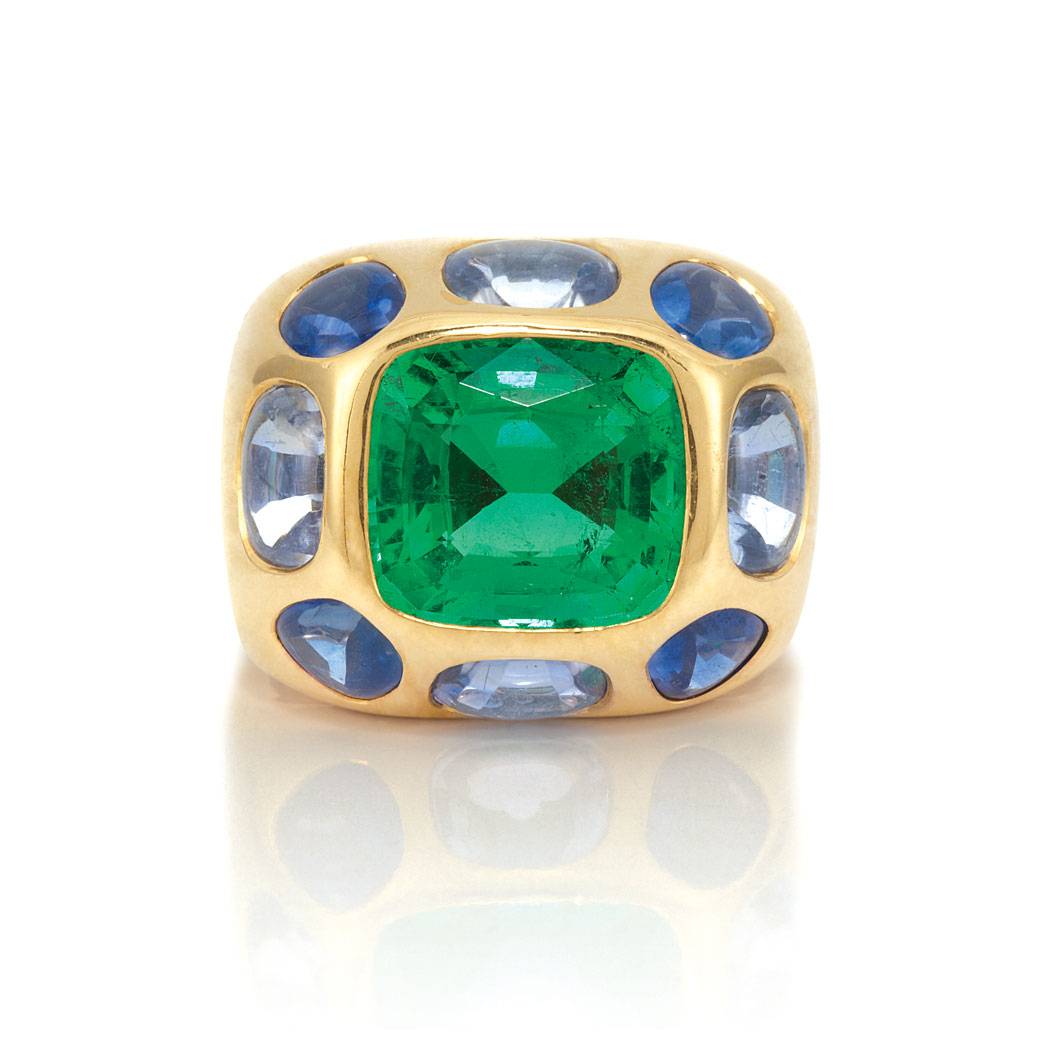 Lot image - Gold, Emerald and Multicolored Sapphire Ring, Chanel