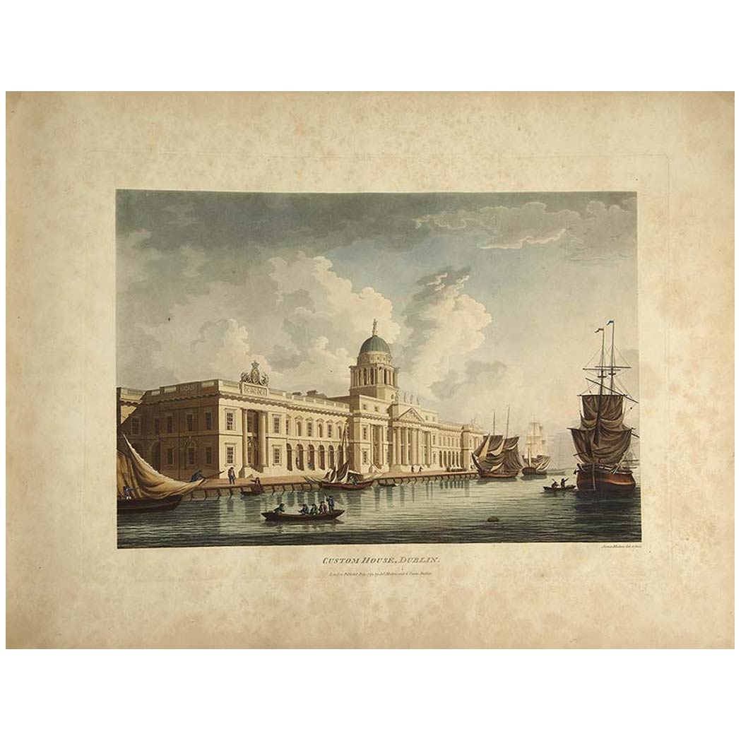 Lot image - [COLOR PLATE]  MALTON, JAMES. A picturesque and descriptive view of the city of Dublin displayed in a series of the most interesting scenes taken in the year 1791