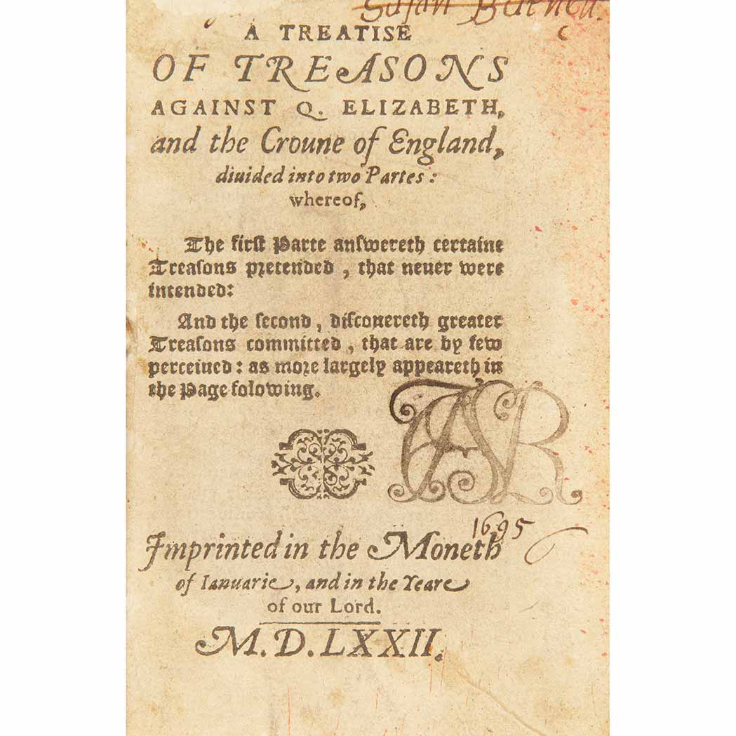 Lot image - [ELIZABETHAN] A treatise of treasons against Q. Elizabeth, and the croune of England,