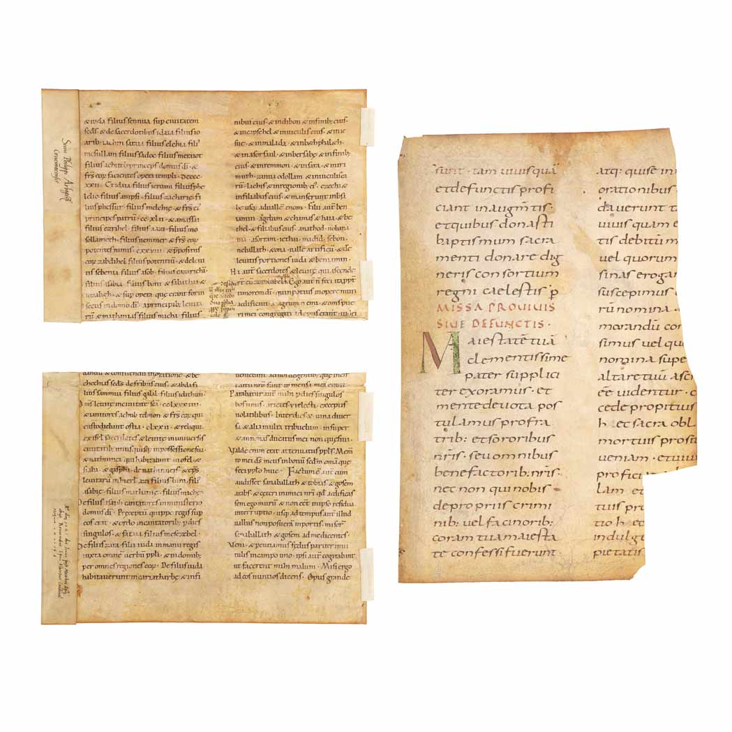 Lot image - [MANUSCRIPTS-LEAVES]  A group of leaves or portions of leaves