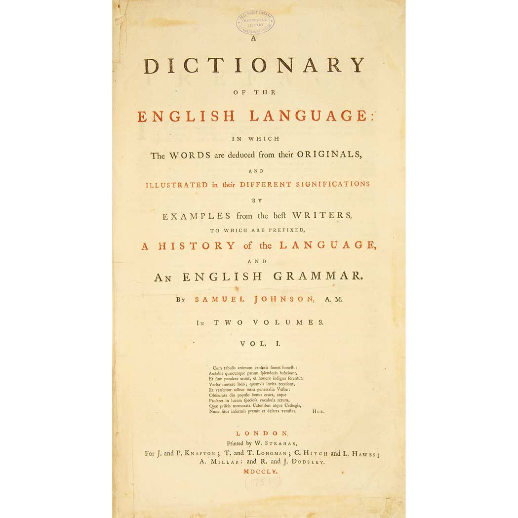 Lot image - JOHNSON, SAMUEL  A Dictionary of the English Language