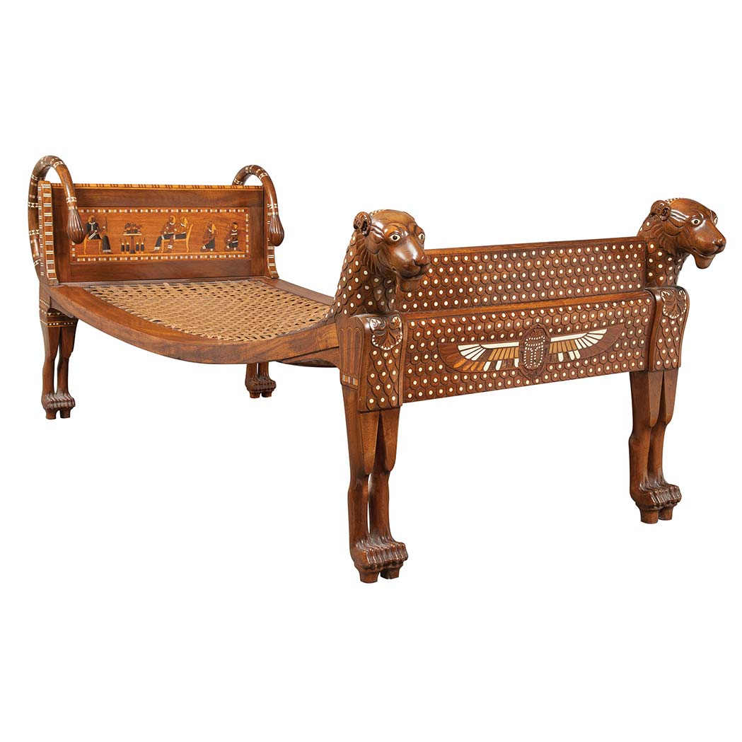 Egyptian revival bone inlaid mahogany chaise longue for for Chaise longue for sale