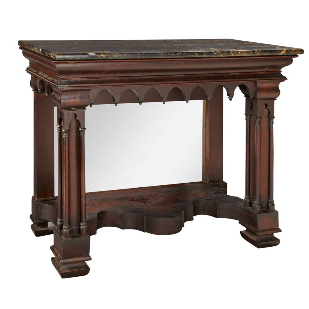 Lot image - American Gothic Revival Carved Mahogany Pier Table