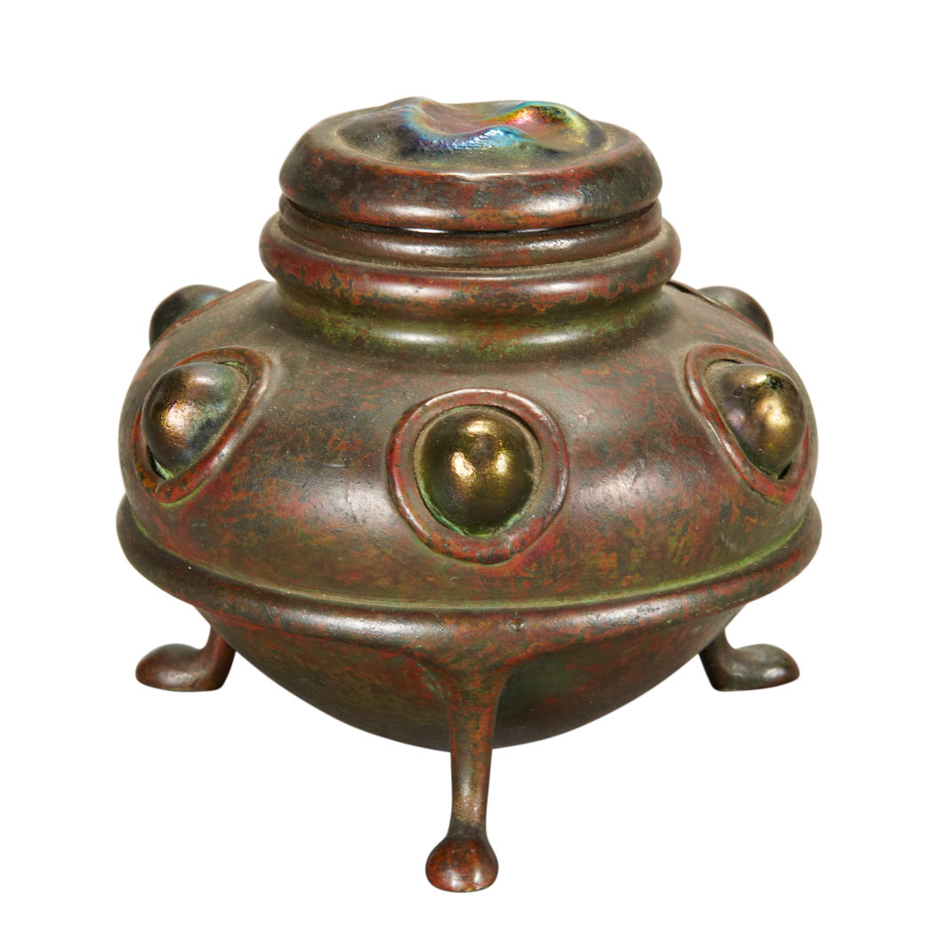Lot image - Tiffany Studios Bronze and Favrile Glass Turtle Back Inkwell