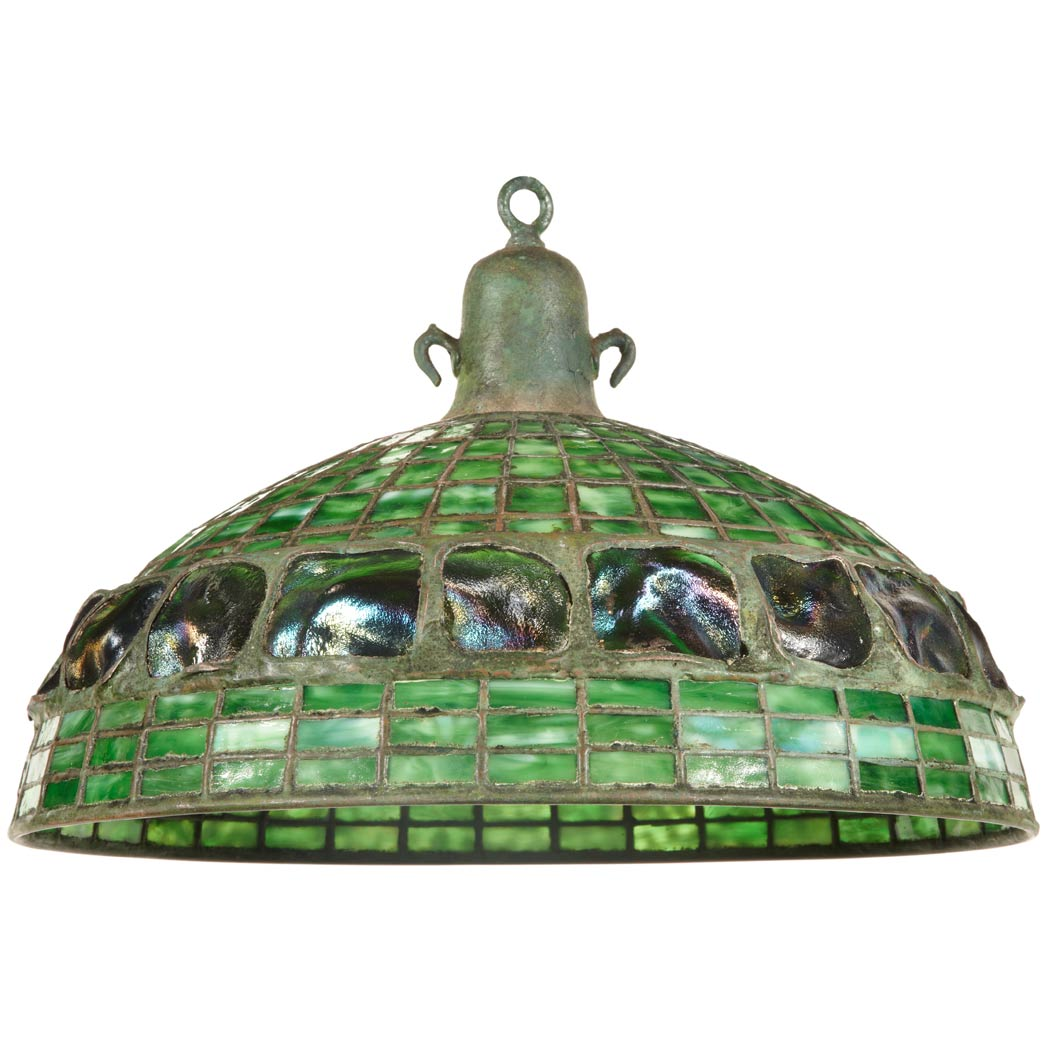 Lot image - Unsigned Tiffany Studios Bronze and Leaded Favrile Glass Turtle Back and Geometric Hanging Shade